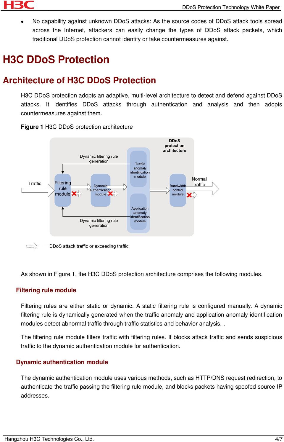 H3C DDoS Protection Architecture of H3C DDoS Protection H3C DDoS protection adopts an adaptive, multi-level architecture to detect and defend against DDoS attacks.