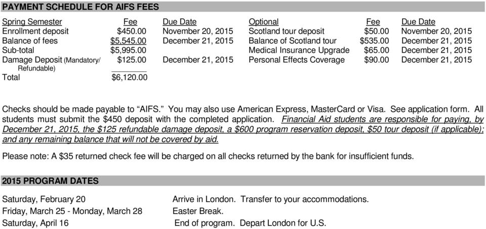 00 December 21, 2015 Personal Effects Coverage $90.00 December 21, 2015 Refundable) Total $6,120.00 Checks should be made payable to AIFS. You may also use American Express, MasterCard or Visa.