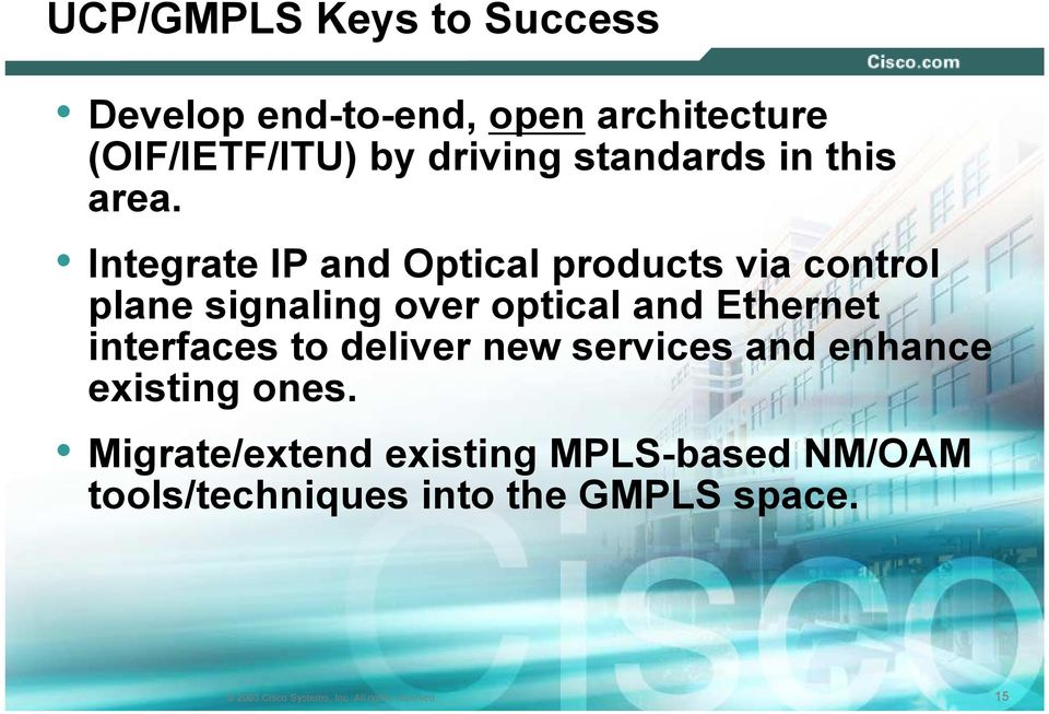 Integrate IP and Optical products via control plane signaling over optical and