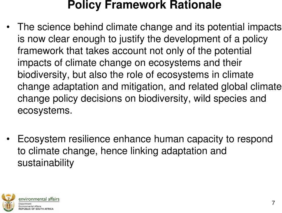 role of ecosystems in climate change adaptation and mitigation, and related global climate change policy decisions on biodiversity, wild