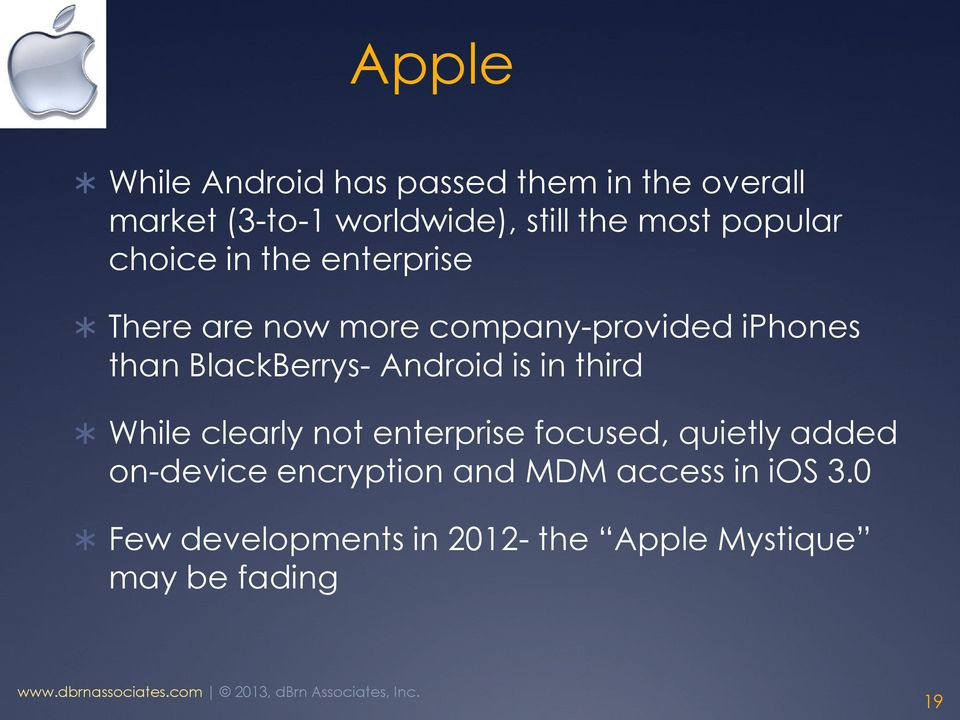 BlackBerrys- Android is in third While clearly not enterprise focused, quietly added