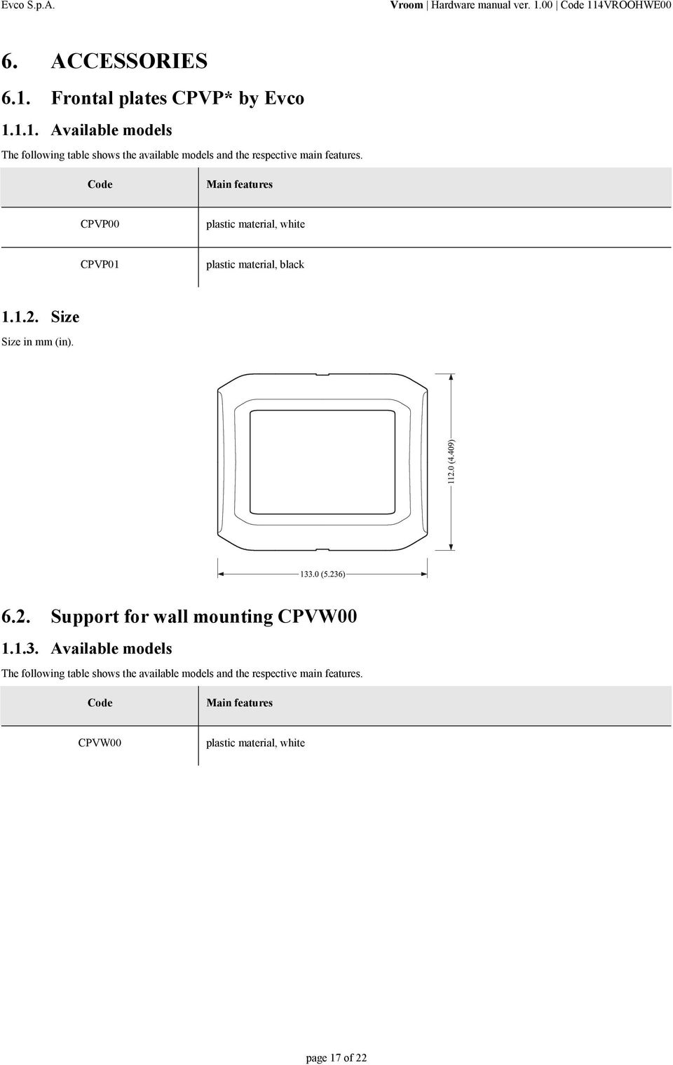 Size Size in mm (in). 6.2. Support for wall mounting CPVW00 1.1.3.