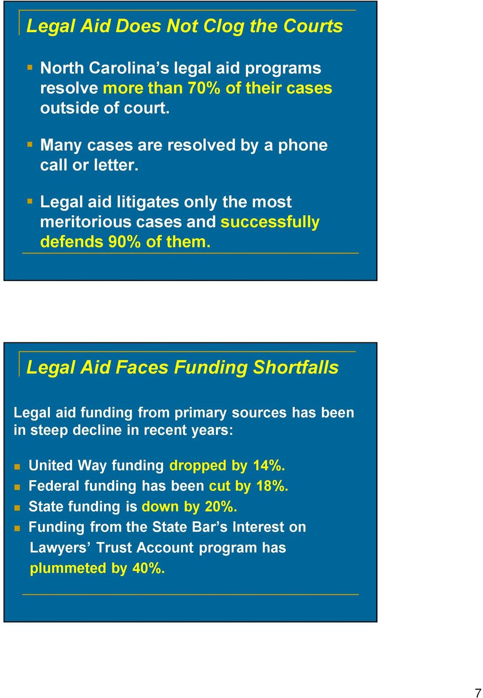 Legal Aid Faces Funding Shortfalls Legal aid funding from primary sources has been in steep decline in recent years: United Way funding dropped