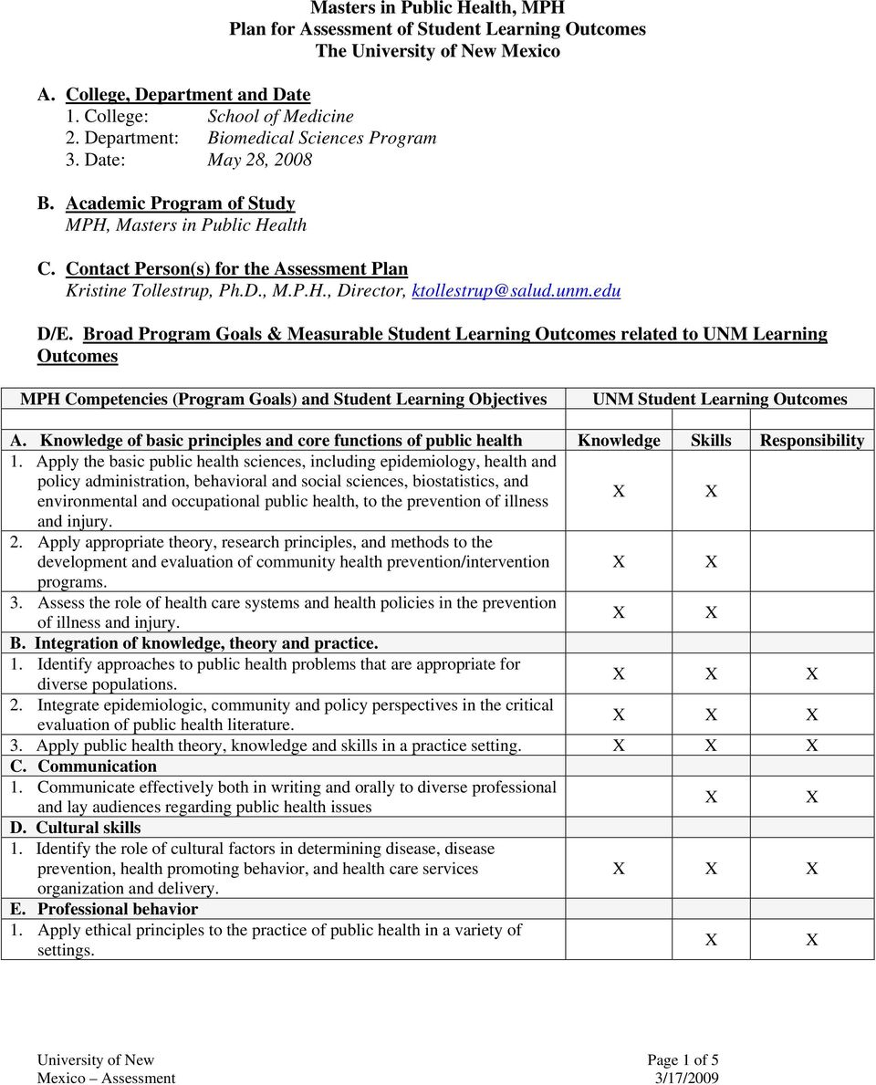Broad Program Goals & Measurable Student Learning Outcomes related to UNM Learning Outcomes MPH Competencies (Program Goals) and Student Learning Objectives UNM Student Learning Outcomes A.