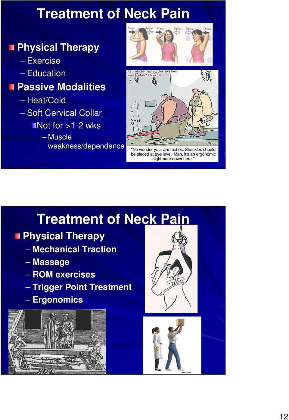 weakness/dependence Treatment of Neck Pain Physical Therapy