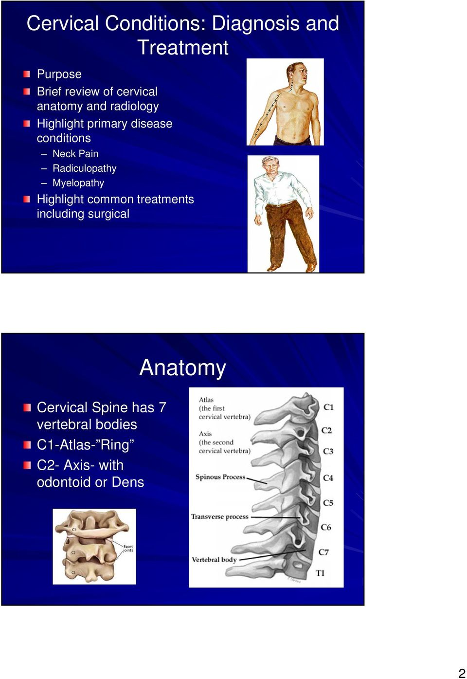 Radiculopathy Myelopathy Highlight common treatments including surgical