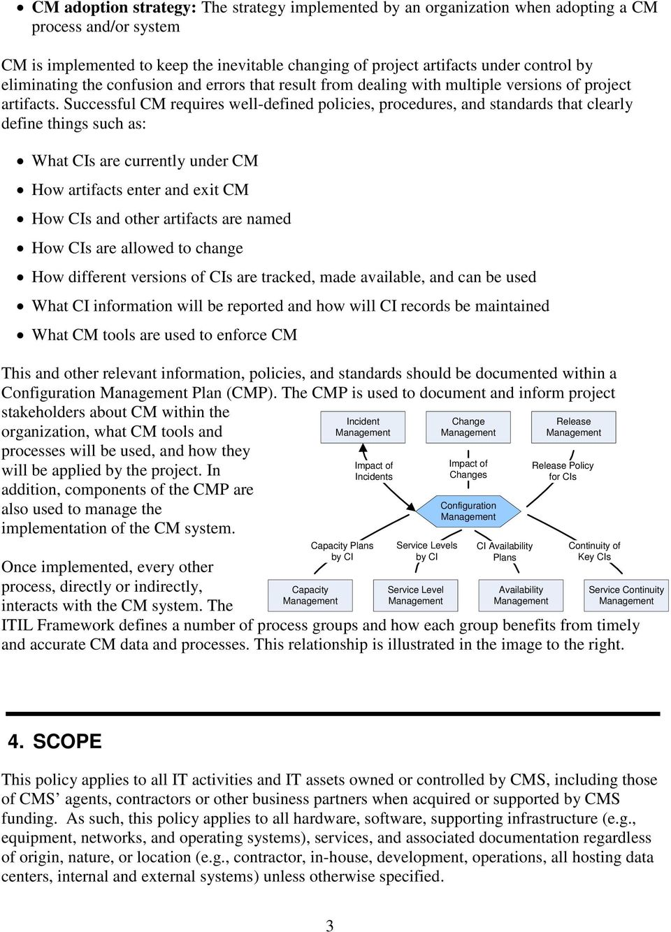 Successful CM requires well-defined policies, procedures, and standards that clearly define things such as: What CIs are currently under CM How artifacts enter and exit CM How CIs and other artifacts