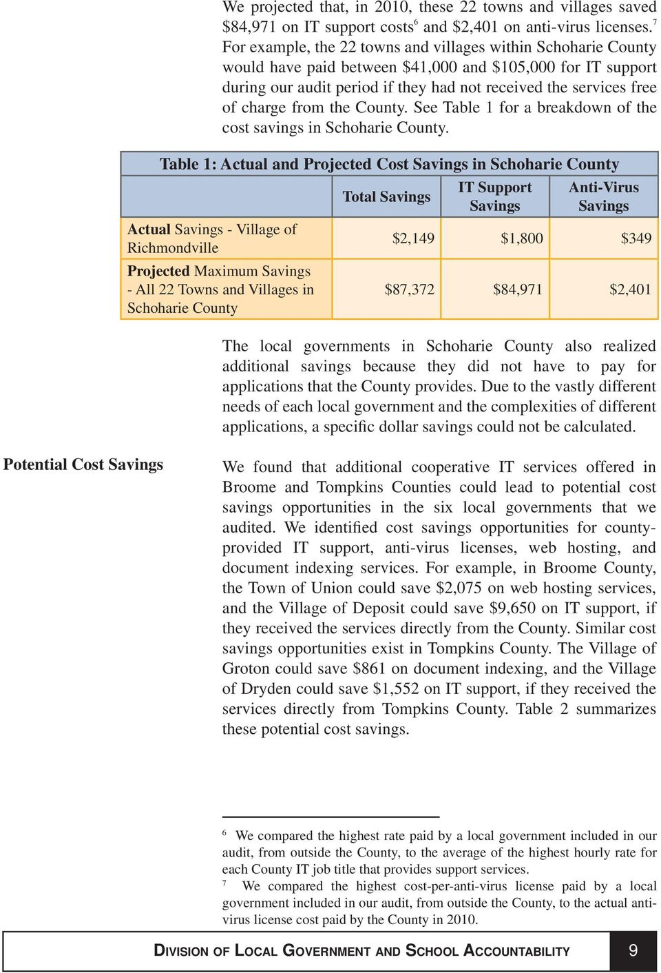 charge from the County. See Table 1 for a breakdown of the cost savings in Schoharie County.