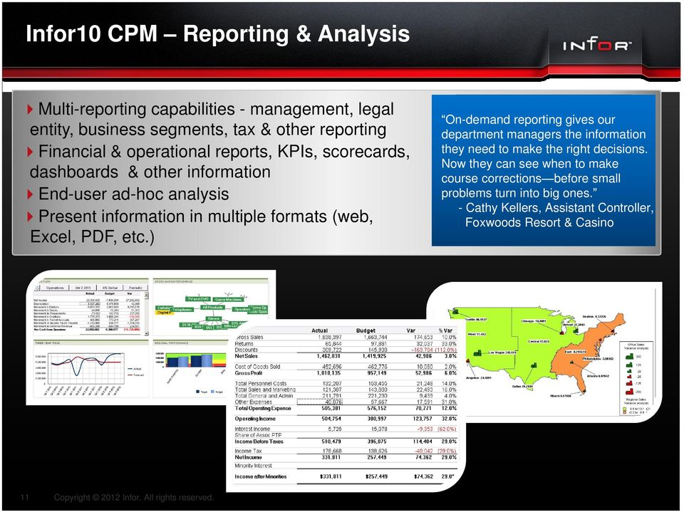 (web, Excel, PDF, etc.) On-demand reporting gives our department managers the information they need to make the right decisions.