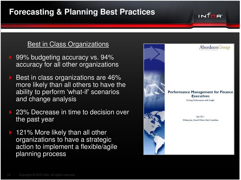 have the ability to perform what-if scenarios and change analysis 23% Decrease in time to decision over the
