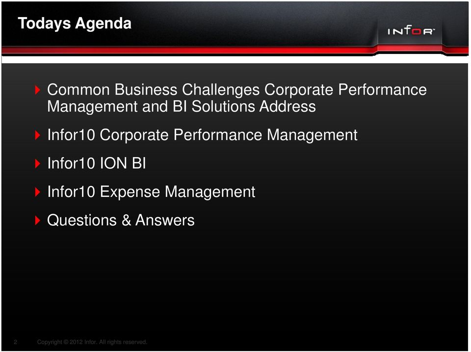 Infor10 Corporate Performance Management Infor10