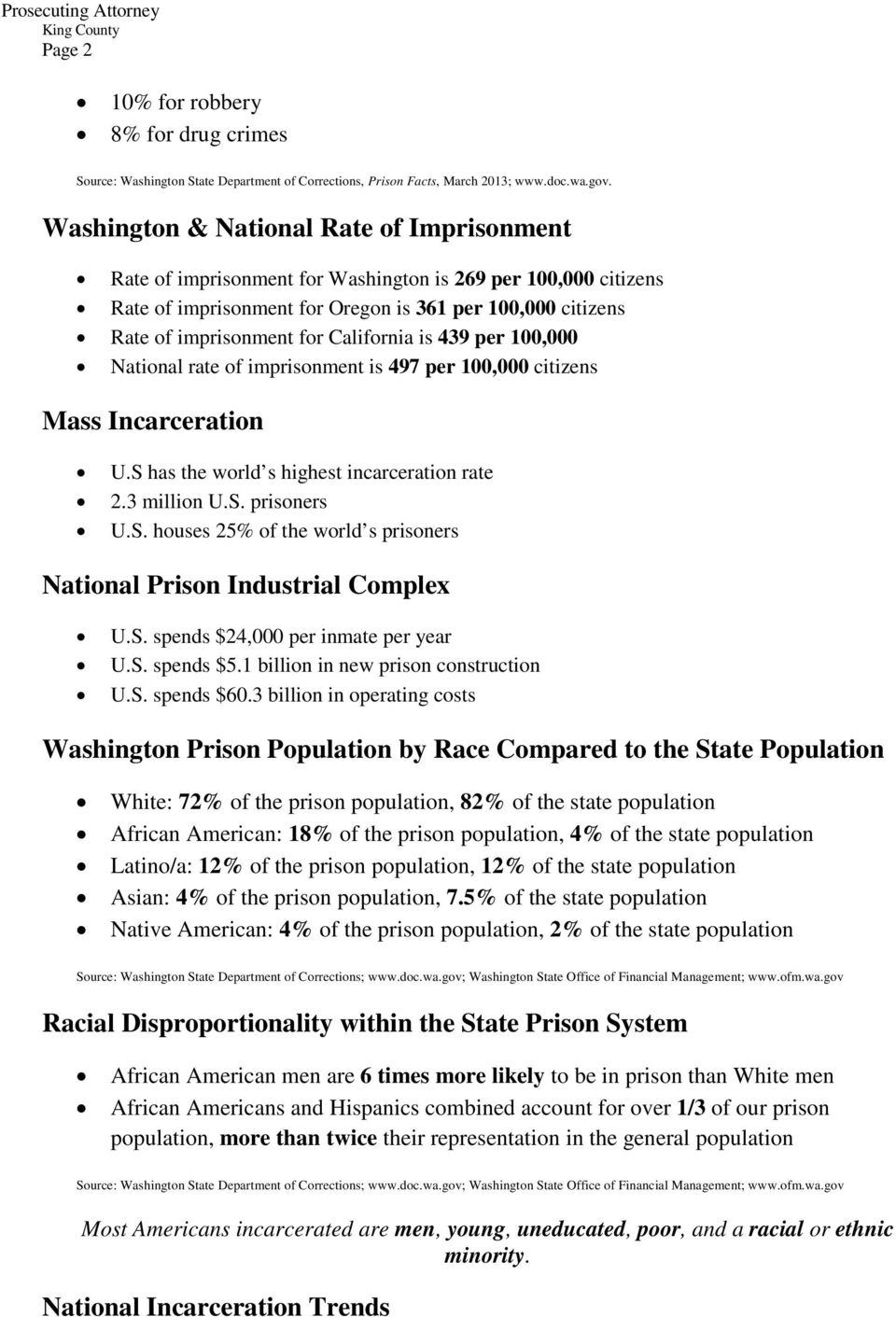 California is 439 per 100,000 National rate of imprisonment is 497 per 100,000 citizens Mass Incarceration U.S has the world s highest incarceration rate 2.3 million U.S. prisoners U.S. houses 25% of the world s prisoners National Prison Industrial Complex U.