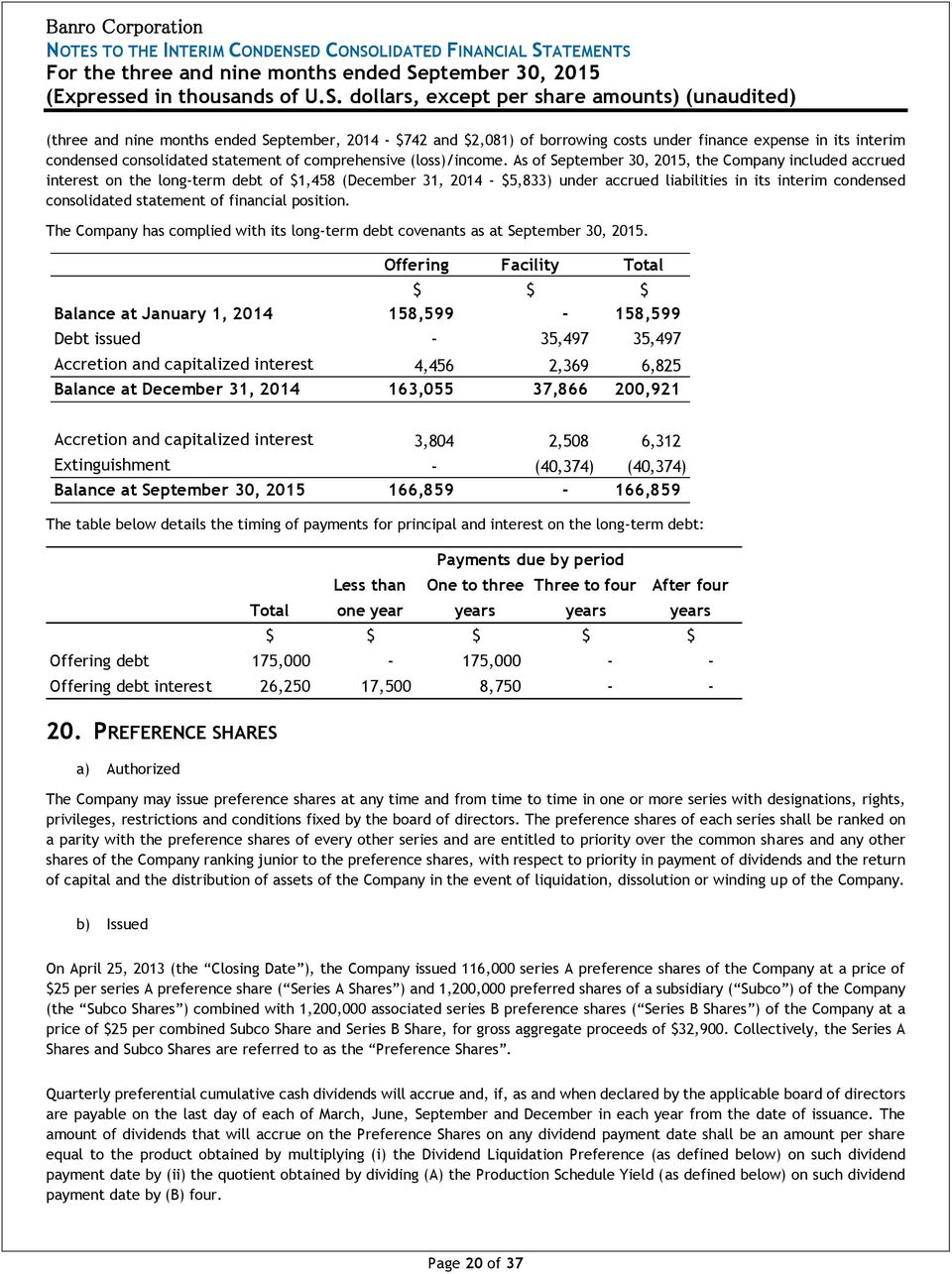 As of, the Company included accrued interest on the long-term debt of $1,458 (December 31, - $5,833) under accrued liabilities in its interim condensed consolidated statement of financial position.