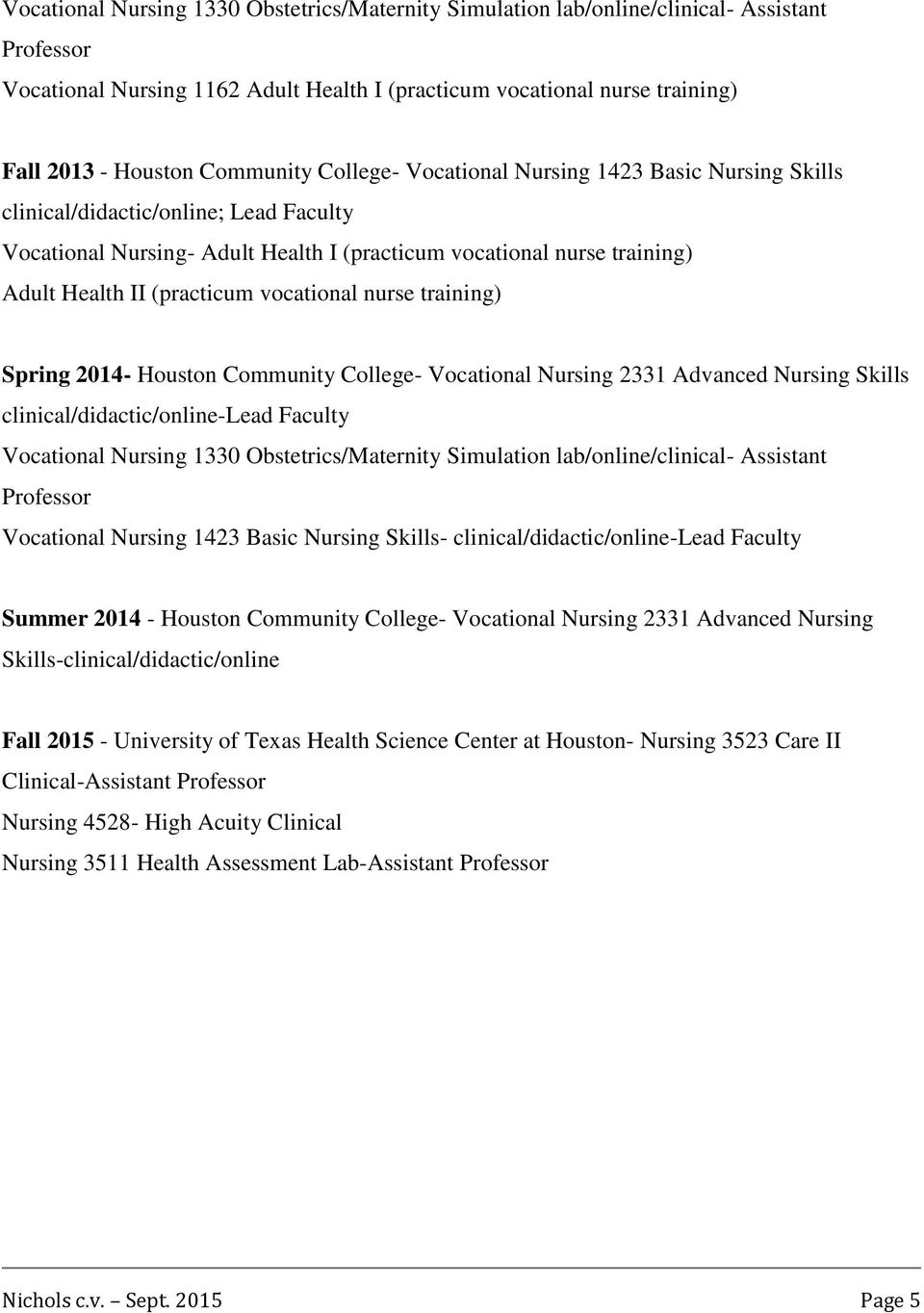 vocational nurse training) Spring 2014- Houston Community College- Vocational Nursing 2331 Advanced Nursing Skills clinical/didactic/online-lead Faculty Vocational Nursing 1330 Obstetrics/Maternity