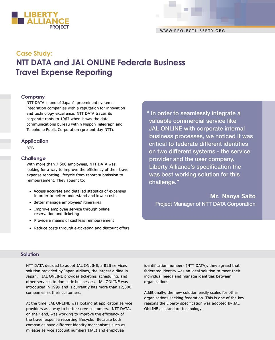 case study ntt data and jal online federate business travel expense