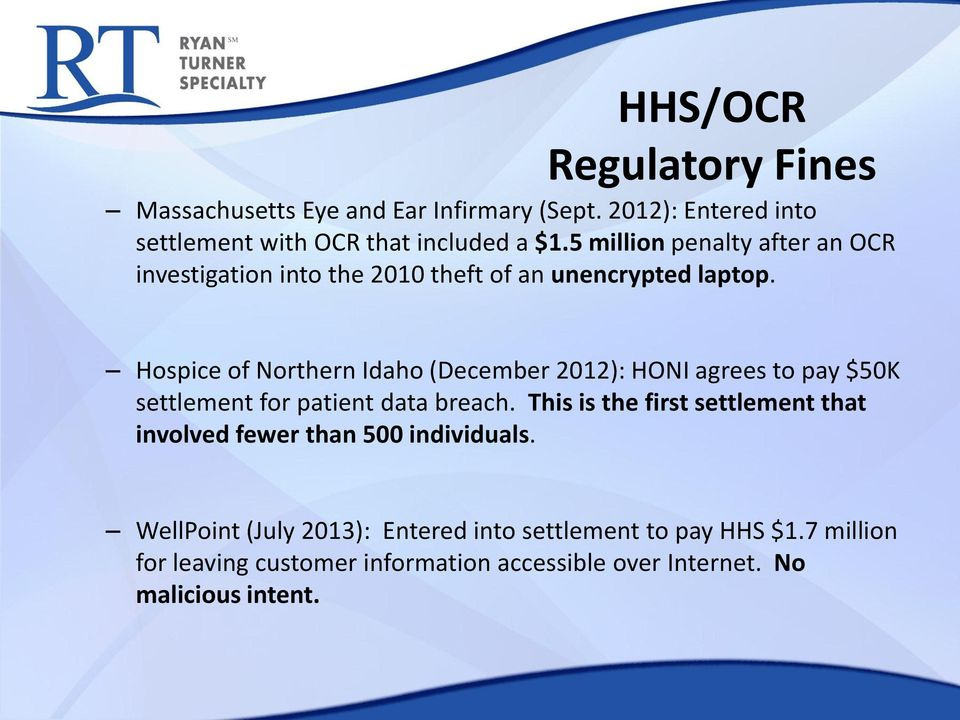 Hospice of Northern Idaho (December 2012): HONI agrees to pay $50K settlement for patient data breach.
