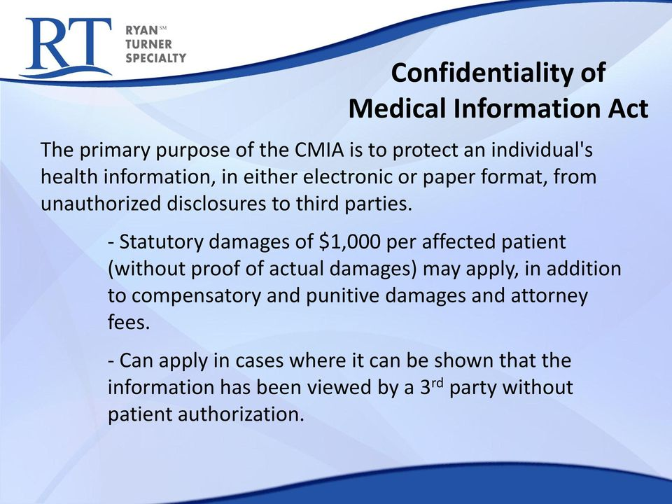 - Statutory damages of $1,000 per affected patient (without proof of actual damages) may apply, in addition to compensatory
