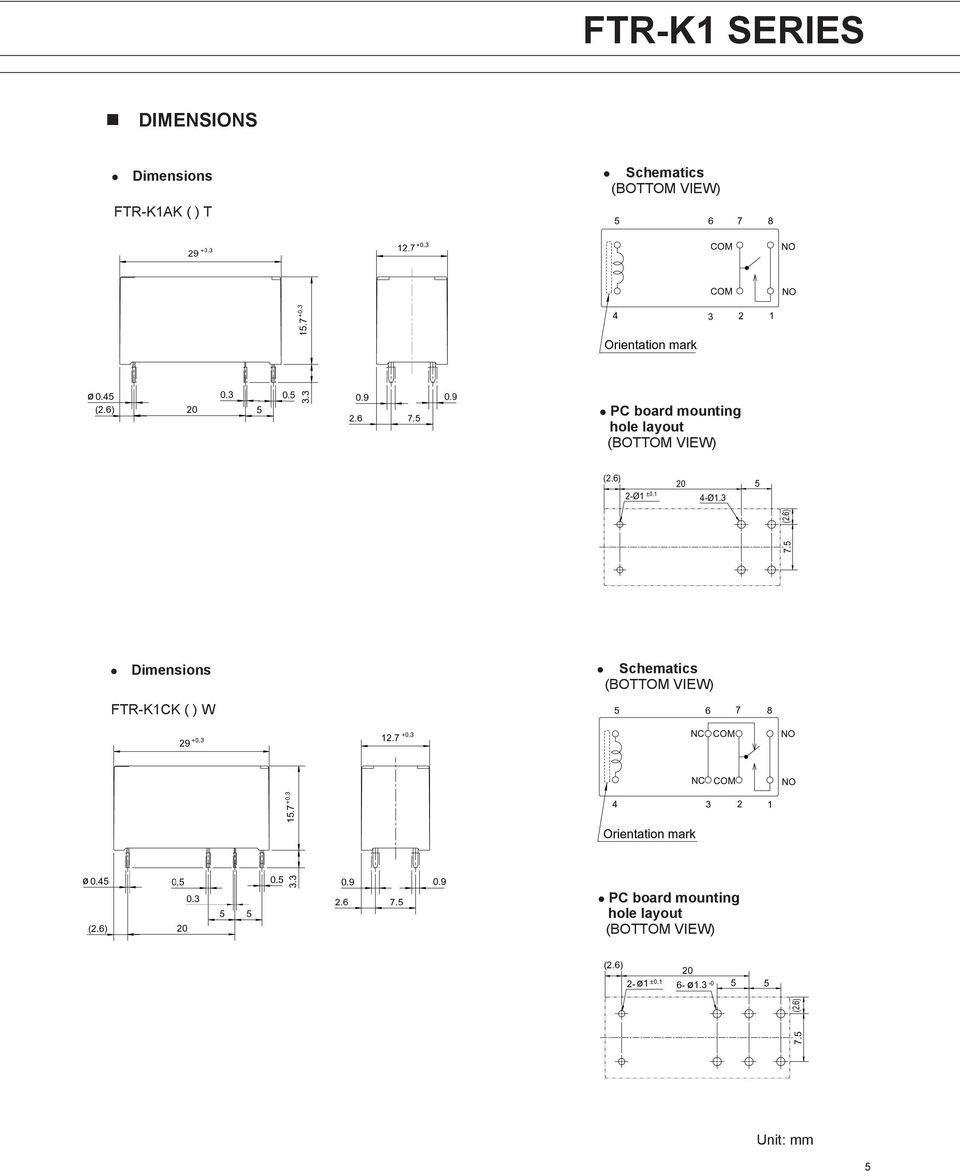layout Dimensions FTR-K1CK ( ) W
