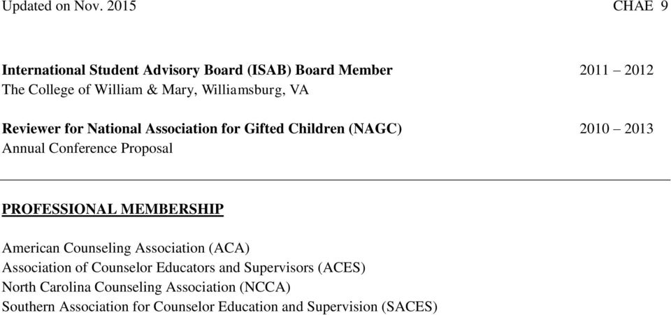 Association for Gifted Children (NAGC) 2010 2013 Annual Conference Proposal PROFESSIONAL MEMBERSHIP