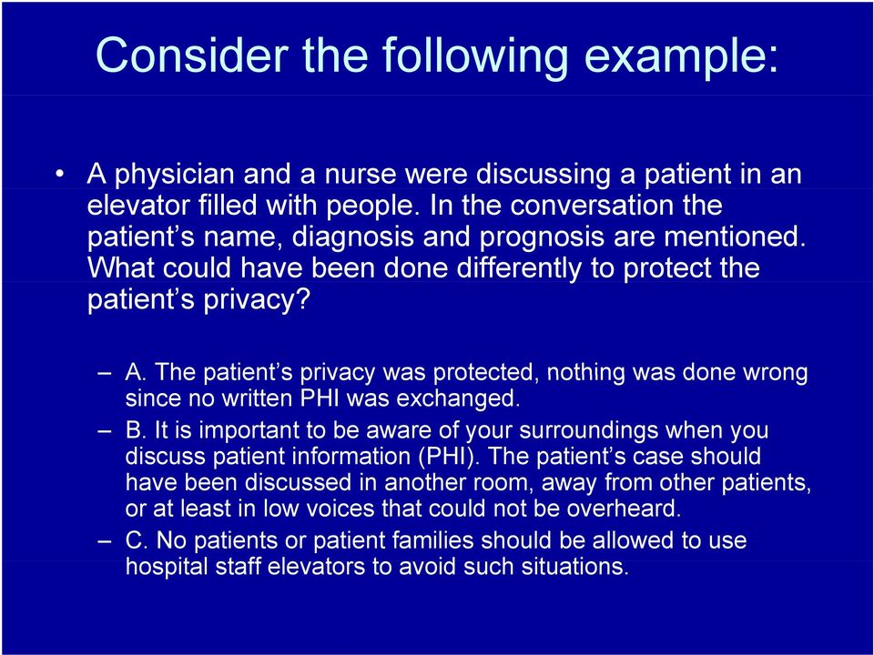 The patient s privacy was protected, nothing was done wrong since no written PHI was exchanged. B.