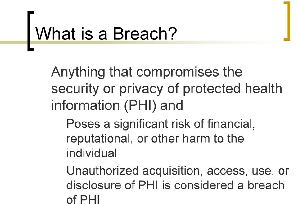 information (PHI) and Poses a significant risk of financial,