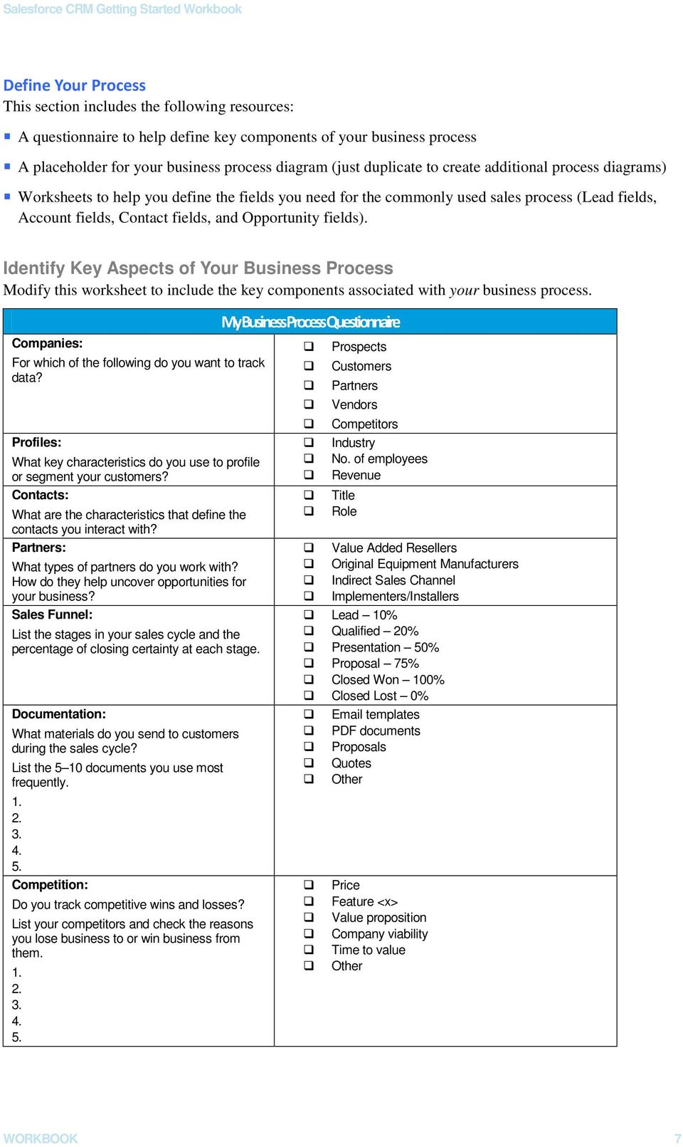 fields). Identify Key Aspects of Your Business Process Modify this worksheet to include the key components associated with your business process.