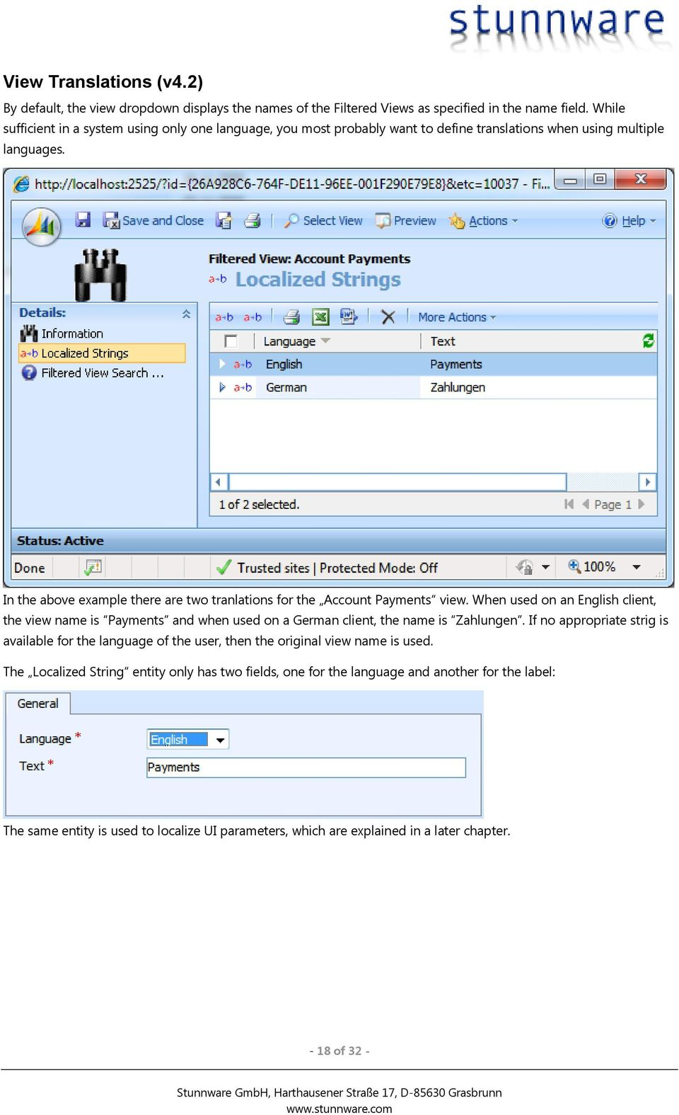 In the above example there are two tranlations for the Account Payments view.