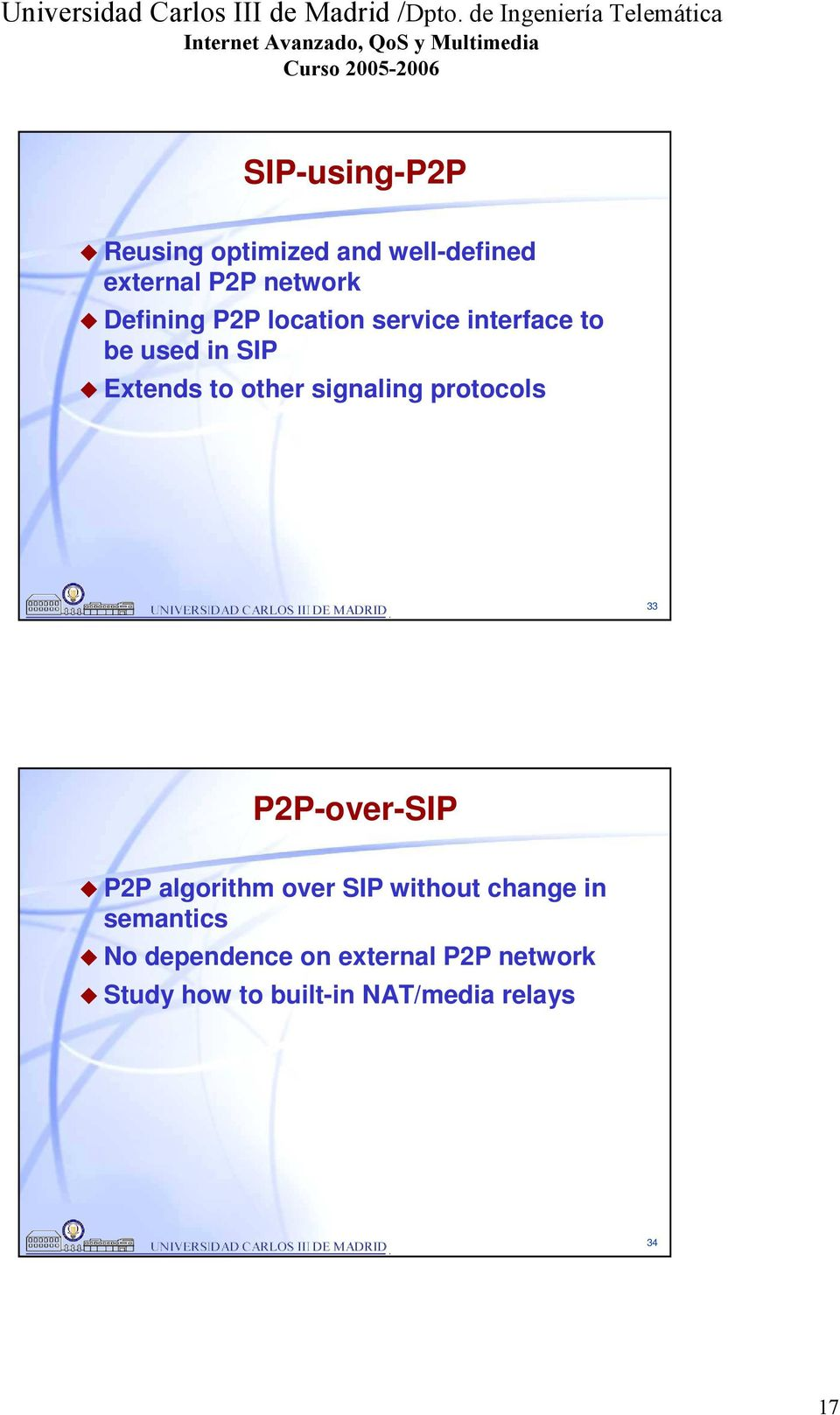 protocols 33 P2P-over-SIP P2P algorithm over SIP without change in semantics