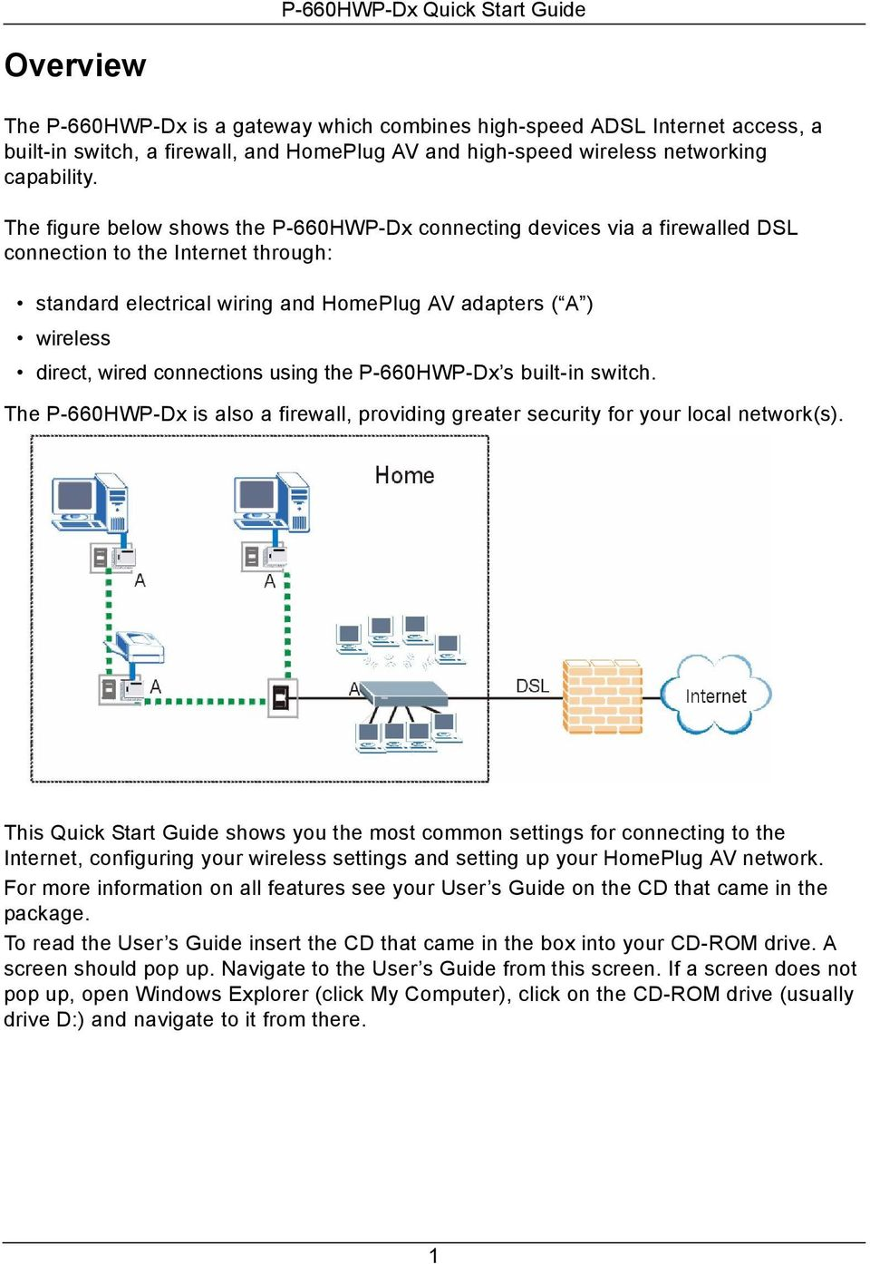 connections using the P-660HWP-Dx s built-in switch. The P-660HWP-Dx is also a firewall, providing greater security for your local network(s).