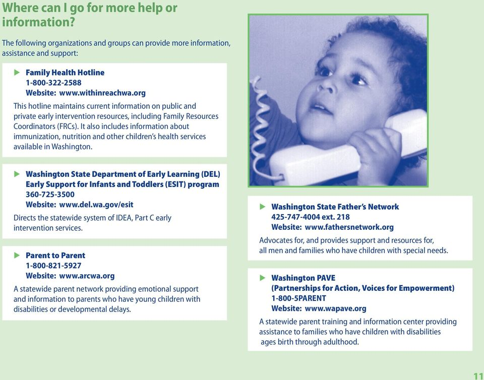 It also includes information about immunization, nutrition and other children s health services available in Washington.