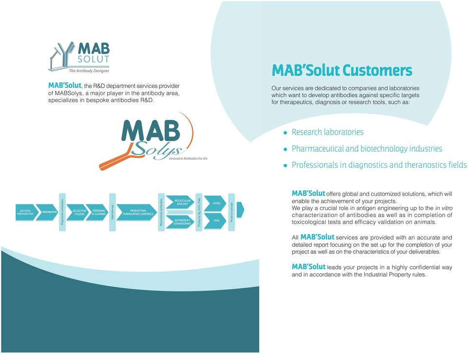 laboratories Pharmaceutical and biotechnology industries Professionals in diagnostics and theranostics fields MAB Solut offers global and customized solutions, which will enable the achievement of