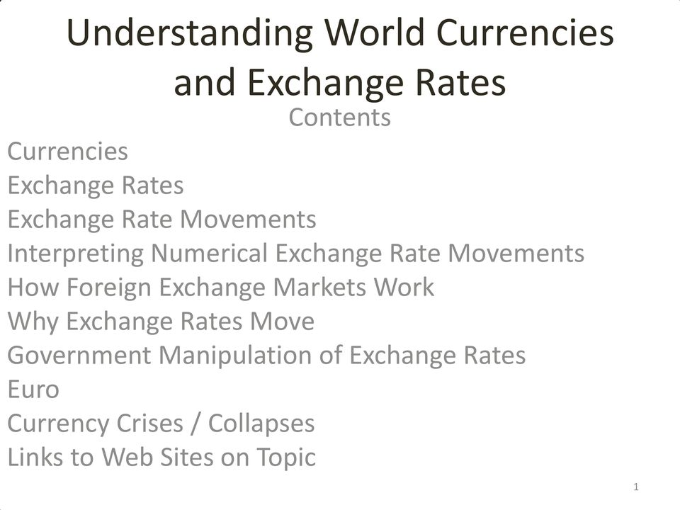 How Foreign Exchange Markets Work Why Exchange Rates Move Government