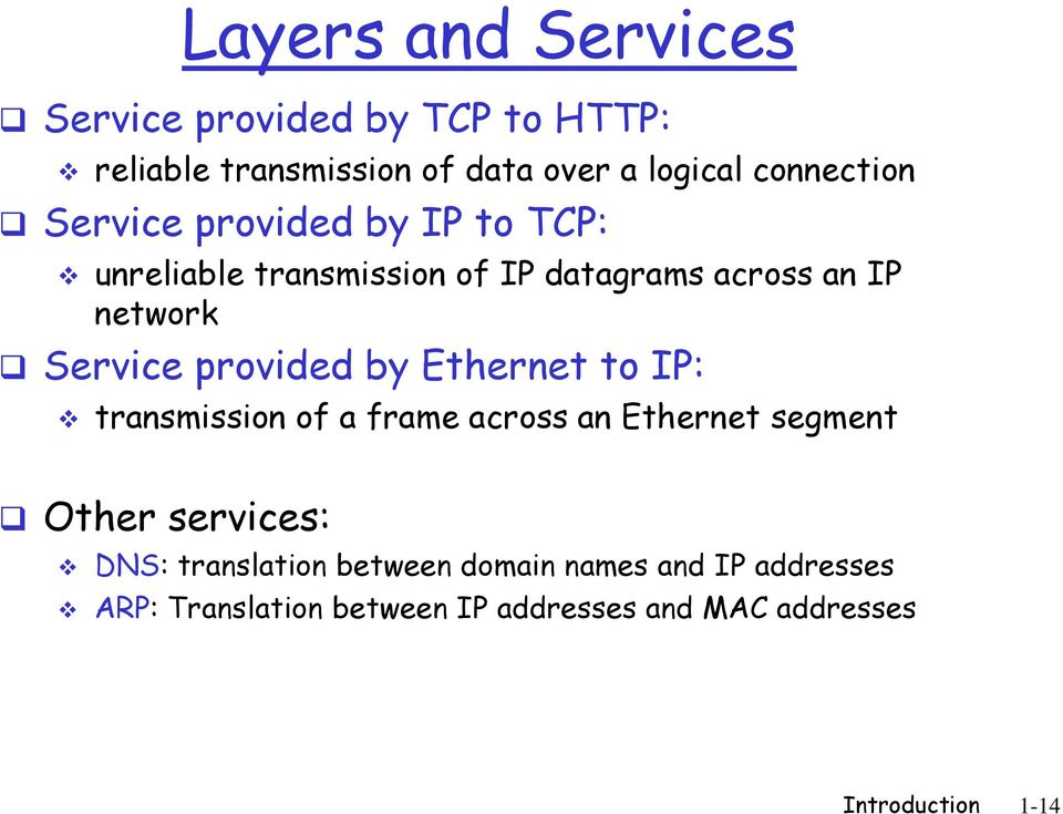 Service provided by Ethernet to IP: transmission of a frame across an Ethernet segment Other services: DNS: