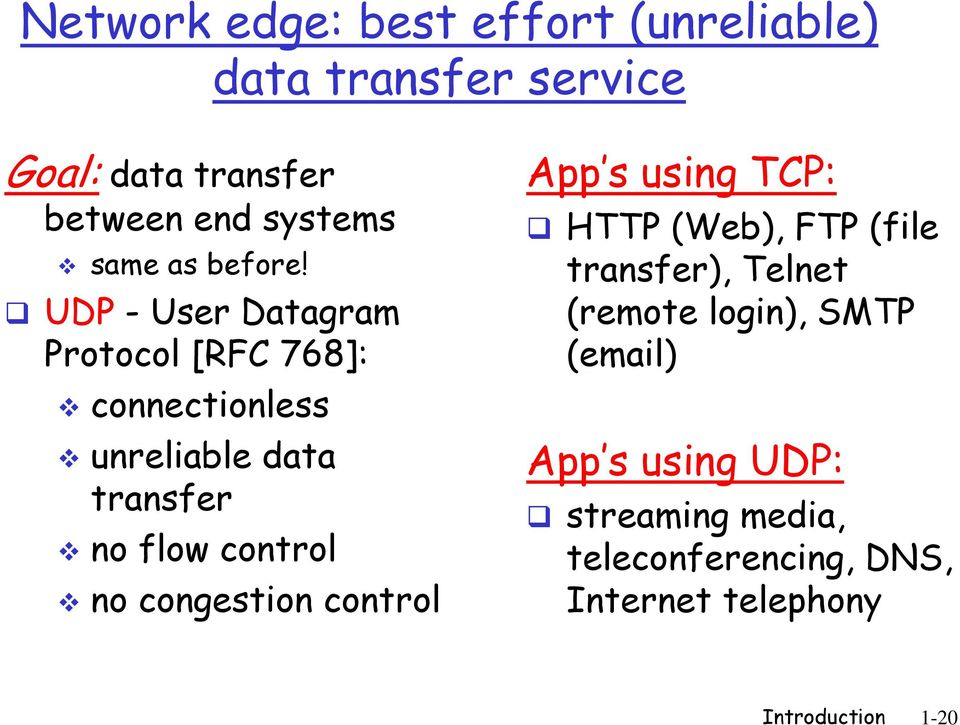 UDP - User Datagram Protocol [RFC 768]: connectionless unreliable data transfer no flow control no