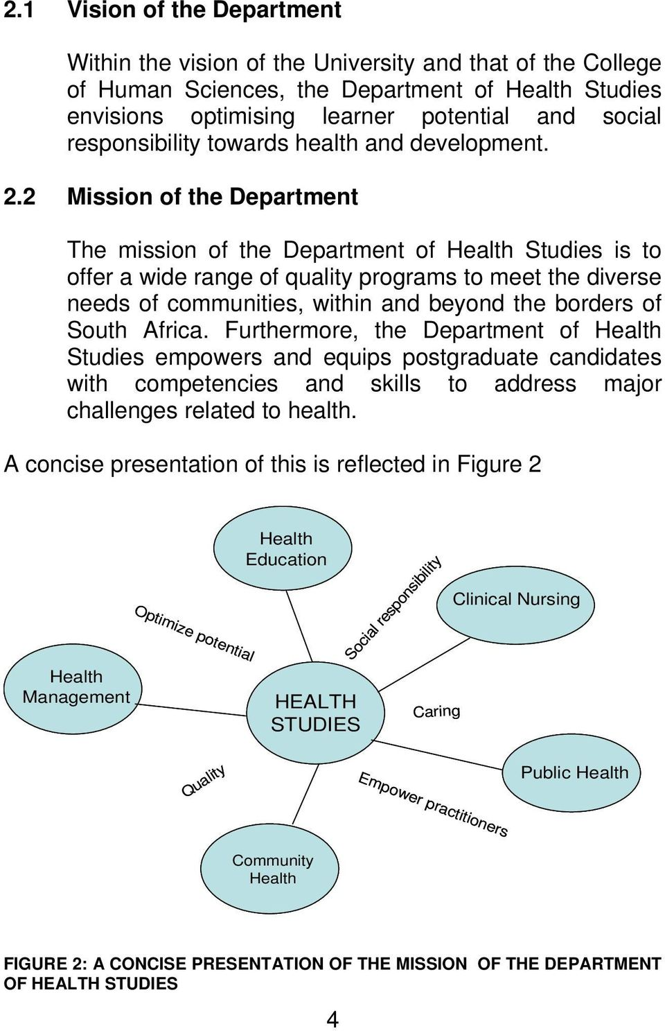 2 Mission of the Department The mission of the Department of Health Studies is to offer a wide range of quality programs to meet the diverse needs of communities, within and beyond the borders of