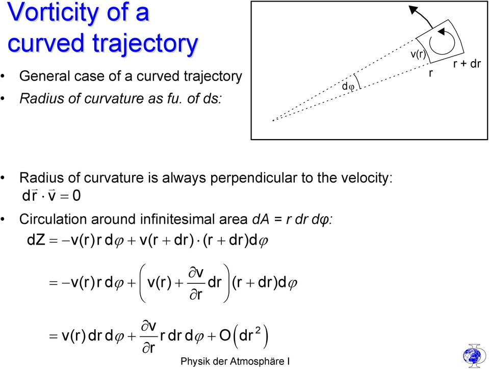 of ds: dϕ v(r) r r + dr Radius of curvature is always perpendicular to the velocity: dr