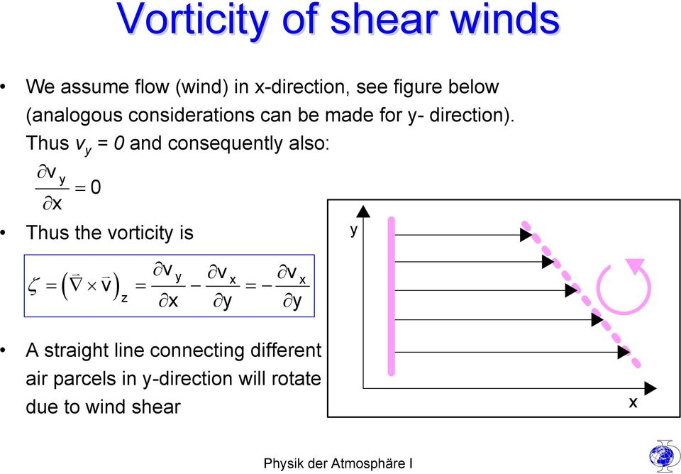Thus v y = 0 and consequently also: v y = 0 x Thus the vorticity is v v v ζ = ( v)