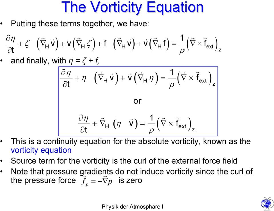 continuity equation for the absolute vorticity, known as the vorticity equation Source term for the vorticity is the curl of
