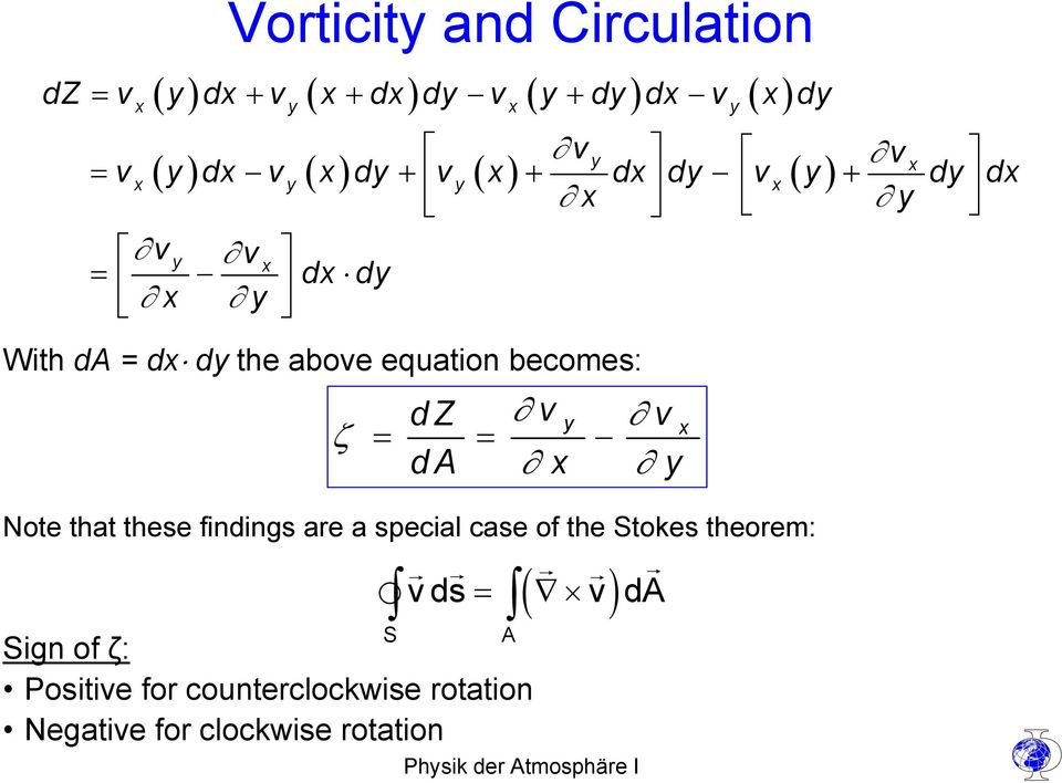 above equation becomes: ζ dz v v da x y y = = Note that these findings are a special case of the Stokes