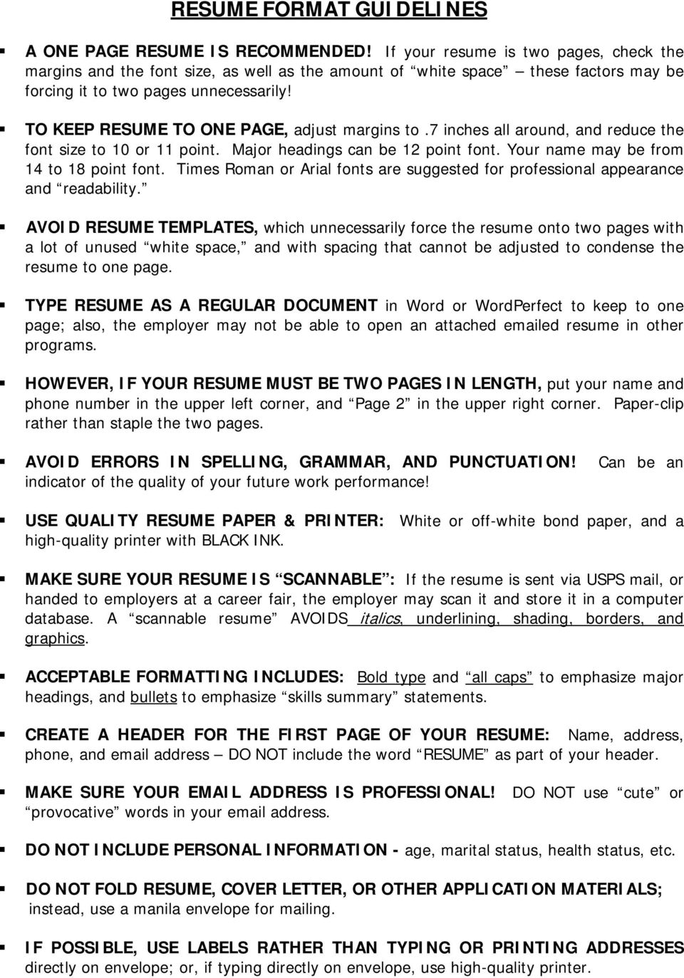 resume format guidelines pdf