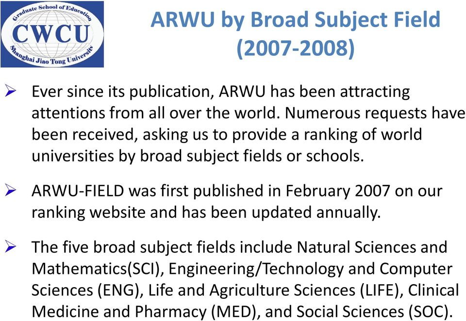 ARWU-FIELD was first published in February 2007 on our ranking website and has been updated annually.