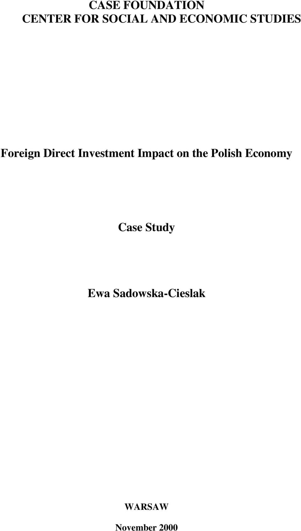 Investment Impact on the Polish Economy