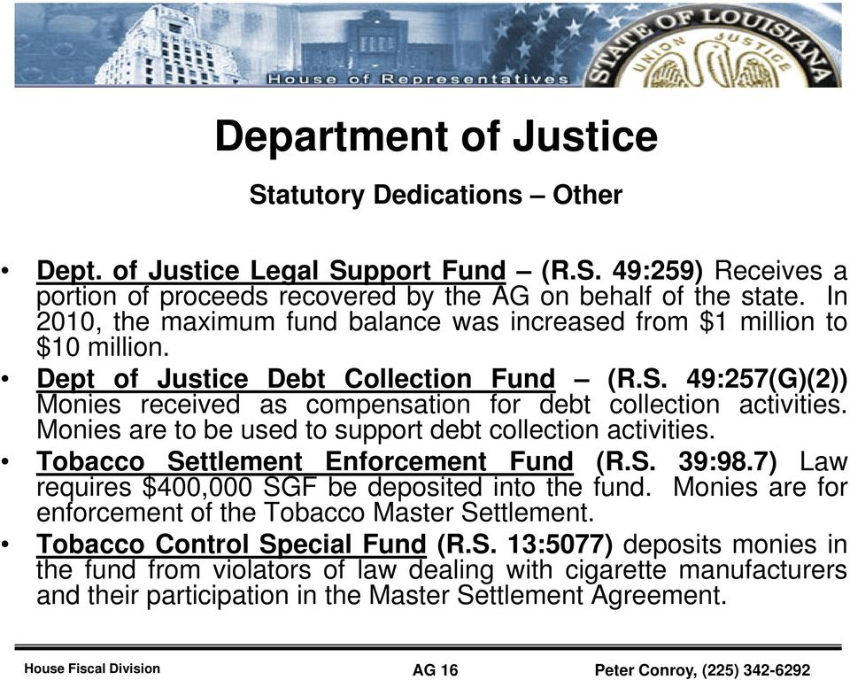 iti Monies are to be used to support debt collection activities. Tobacco Settlement Enforcement Fund (R.S. 39:98.7) Law requires $400,000 SGF be deposited into the fund.