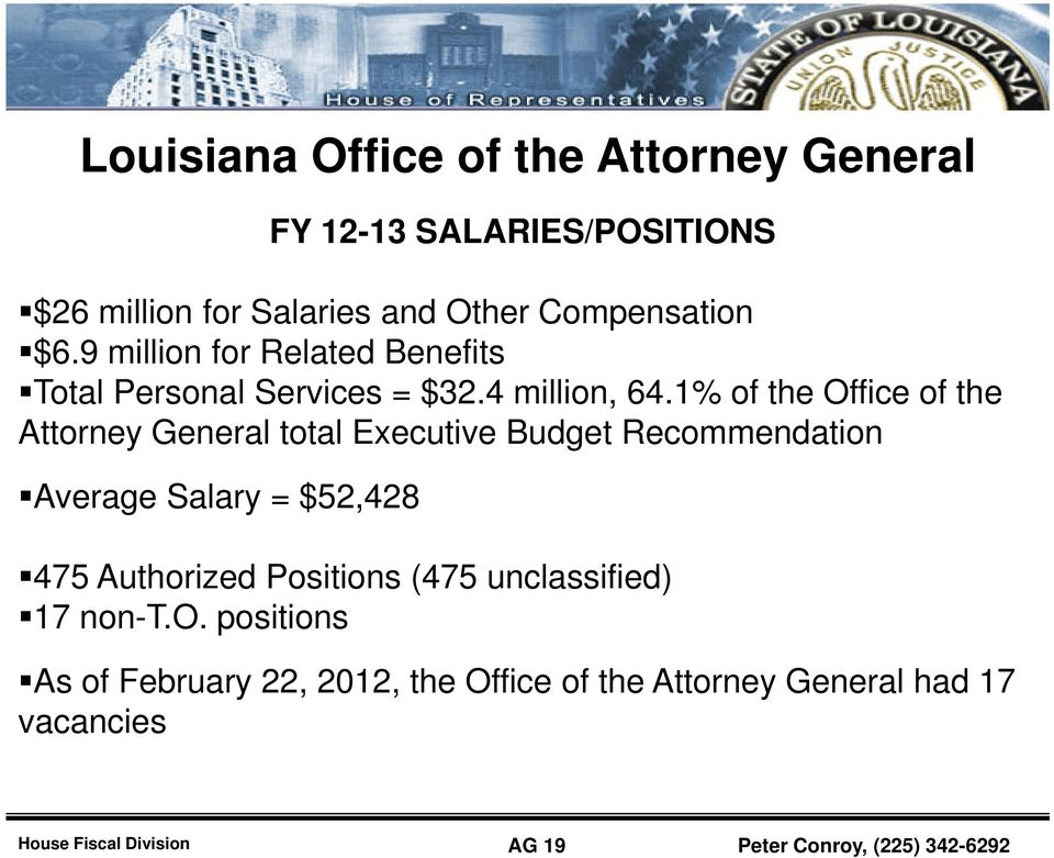 1% of the Office of the Attorney General total Executive Budget Recommendation Average Salary = $52,428 475 Authorized