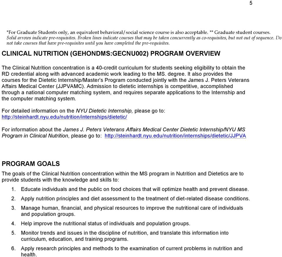 CLINICAL NUTRITION (GEHONDMS:GECNU002) PROGRAM OVERVIEW The Clinical Nutrition concentration is a 40-credit curriculum for students seeking eligibility to obtain the RD credential along with advanced