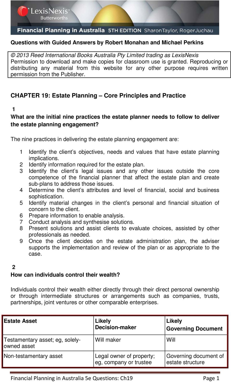 CHAPTER 19: Estate Planning Core Principles and Practice 1 What are the initial nine practices the estate planner needs to follow to deliver the estate planning engagement?