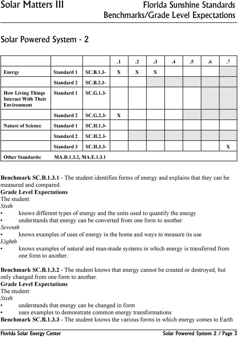 D.1.3.2, MA.E.1.3.1 Benchmark SC.B.1.3.1 - The student identifies forms of energy and explains that they can be measured and compared.
