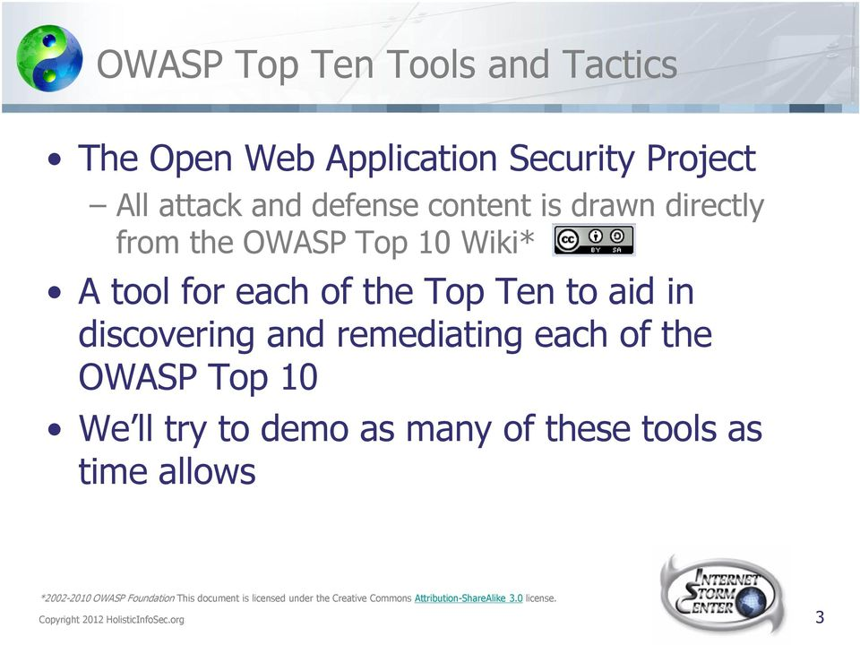 the OWASP Top 10 We ll try to demo as many of these tools as time allows *2002-2010 OWASP Foundation This