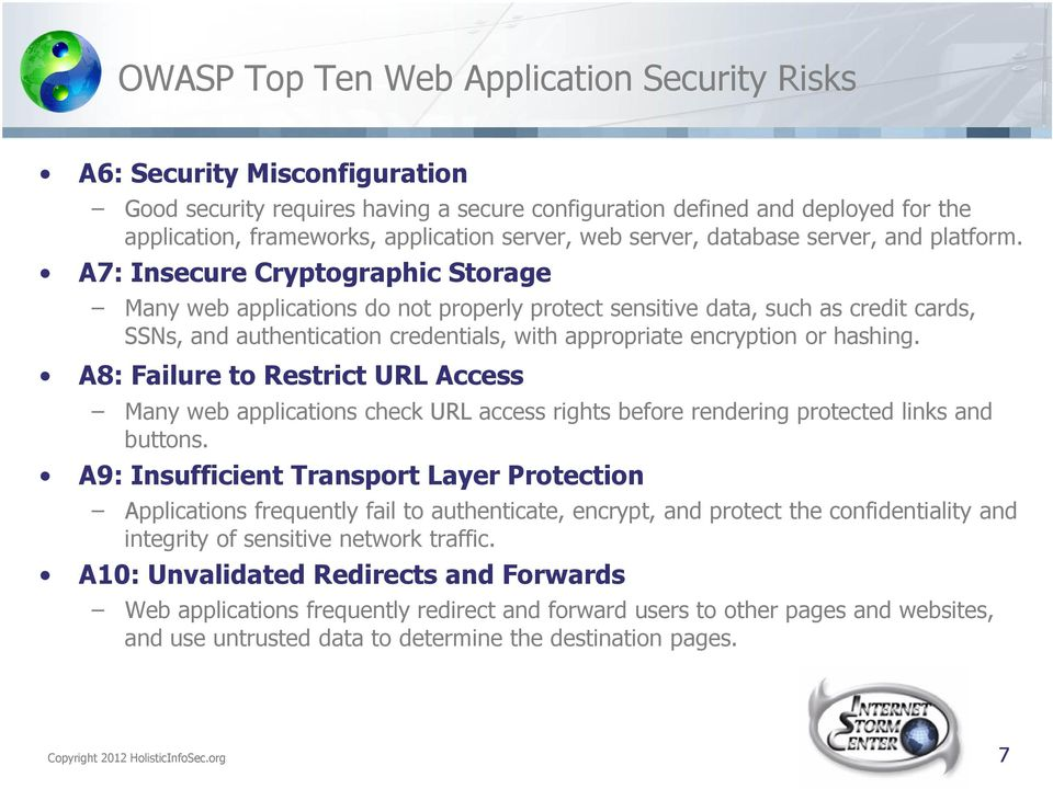 A7: Insecure Cryptographic Storage Many web applications do not properly protect sensitive data, such as credit cards, SSNs, and authentication credentials, with appropriate encryption or hashing.