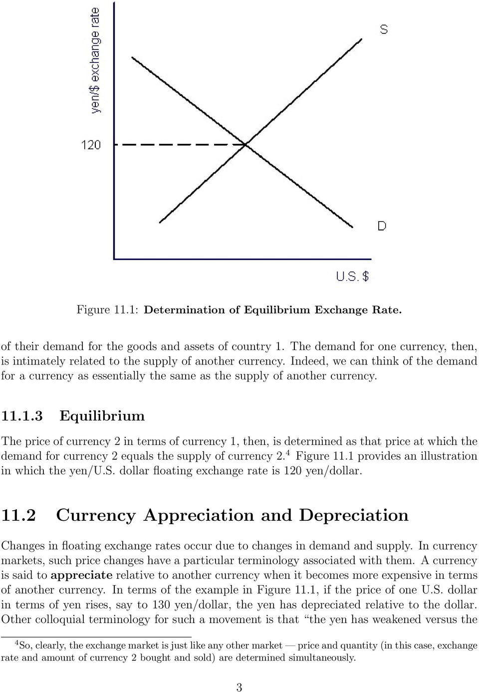 11.1.3 Equilibrium The price of currency 2 in terms of currency 1, then, is determined as that price at which the demand for currency 2 equals the supply of currency 2. 4 Figure 11.